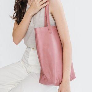 Baggu pink natural leather tote
